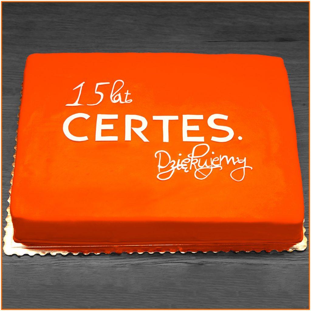 Tort z okazji 15-lecia - Prostokątny z napisem 15 lat Certes dziękujemy.