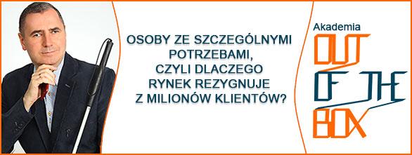 Zdjęcie Jacka Zadrożnego, prowadzącego webinar i logo Akademii OUT of the BOX